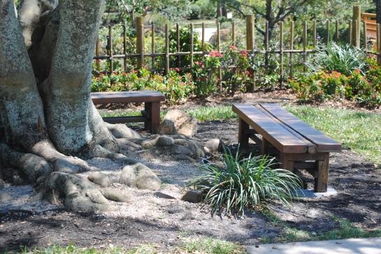 Benches at Morikami Gardens, Delray Beach.