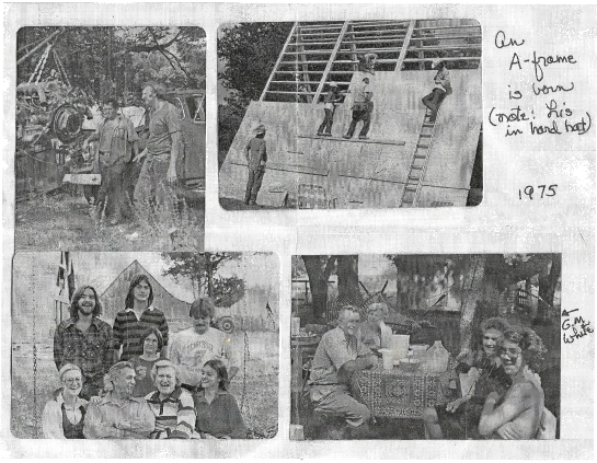 A page from our family scrap book, 1975. Building my mom's studio near Bell Buckle, Tenn.