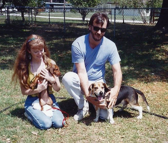 Sadie and her beagle friend Champ, Titusville, mid-1990s.