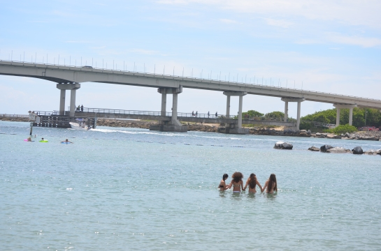 First day of summer for Elizabeth and friends at Sebastian Inlet