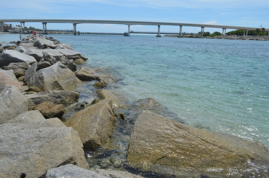 Sebastian Inlet looking east during incoming tide