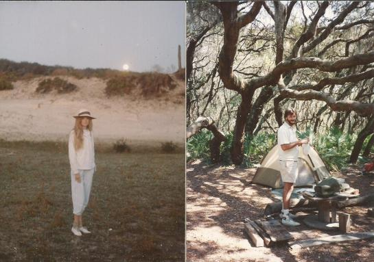Rosemary and I backpacking, Cumberland Island, Ga. 1989