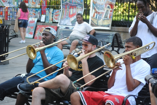 Trombones in Jackson Square, New Orleans