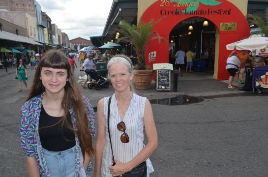 Elizabeth and Rosemary at the Creole Tomato Festival, French Market, New Orleans