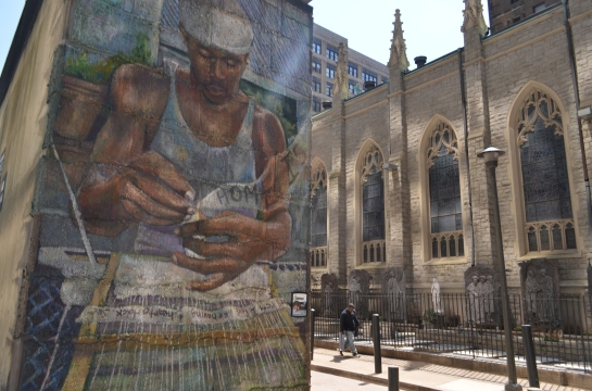Philly mural next to a church